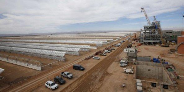 Le chantier de Noor I à proximité de Ouarzazate le 24 avril 2015. ©