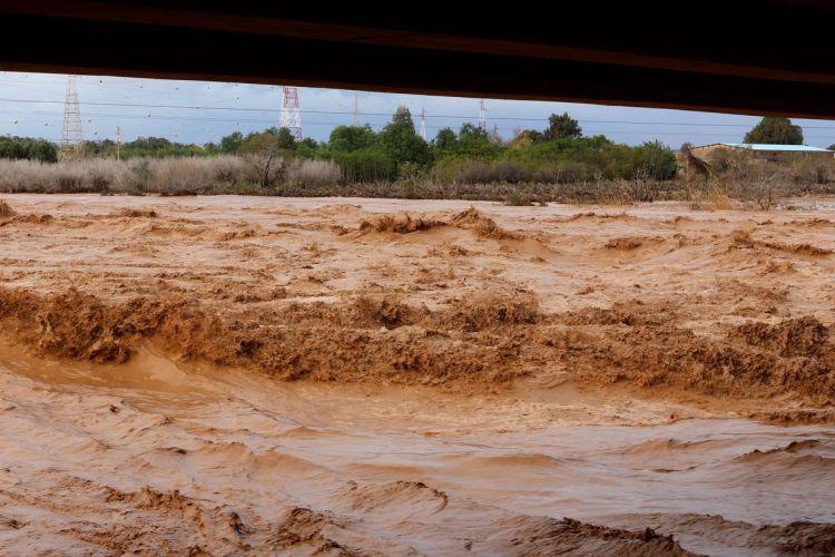 Crue de l'oued Souss en novembre 2014 - Photo M. Terrier