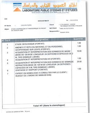 Les promoteurs du projet avaient adressé une demande à LPEE pour un devis concernant une étude géophysique et parasismique du site d'Agadir Land. Dans sa réponse, le laboratoire leur a conseillé de «consulter un expert en sismologie» (point n° 7 sur le document)