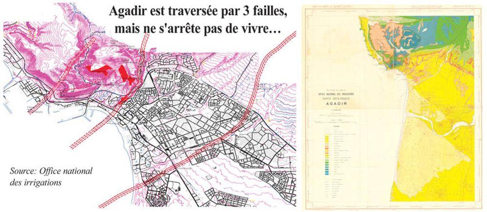 En se référant à la carte géologique établie par l'Office national des irrigations, il ressort que la ville d'Agadir est traversée par trois failles non affleurant, c'est-à-dire profondes. Certains hôtels et quartiers de la ville sont d'ailleurs construits dessus comme Sonaba, Riad Assalam, Illigh…Le quartier Hay Mohammadi est aussi concerné, pourtant il comprend des immeubles à 10 étages