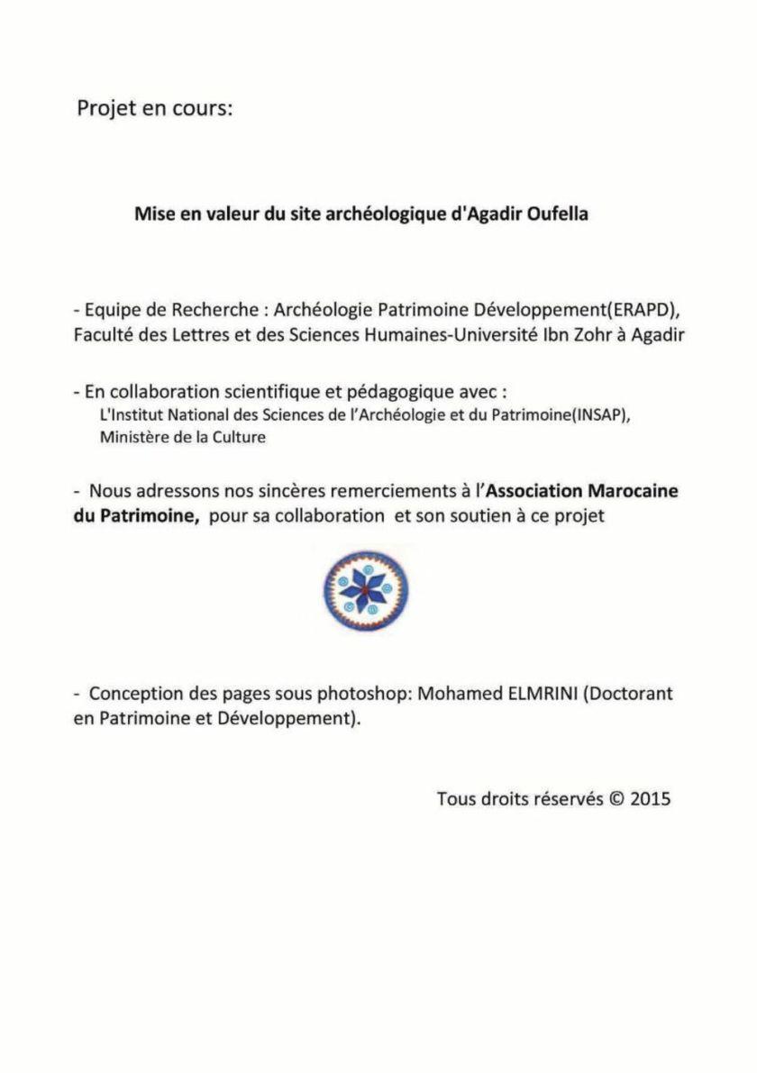 Catalogue sur le projet en cours : « La mise en valeur du site d